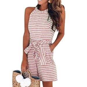 Red Beach striped Romper Jumpsuit Shorts Pockets